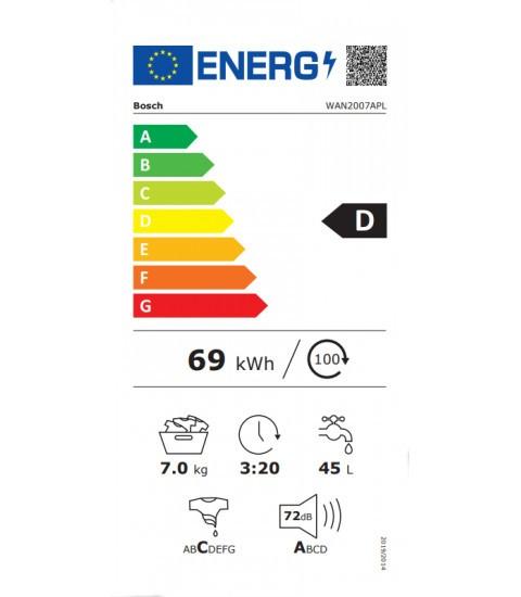 Eticheta energetica Bosch WAN2007A