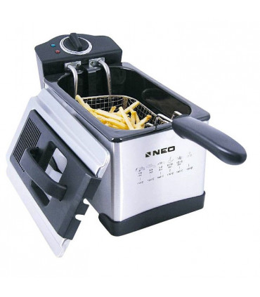 Friteuza NEO DF-PR25E, 1400W, 2.5L, Termostat reglabil, Inox