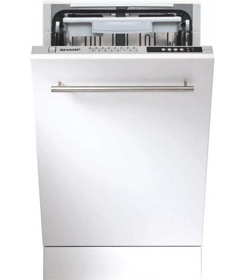 Masina spalat vase incorporabila Sharp QW-S41I472X, Slim, A++, 10 seturi, 8 programe, 45 cm