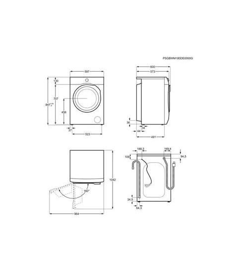 Masina de spalat rufe AEG L6FEG48S, Clasa D, Prosense,Capacitate 8 kg, 1400 rotatii. Alb