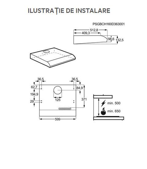 Hota incorporabila AEG DUB1611M, 272 m³/h, inox