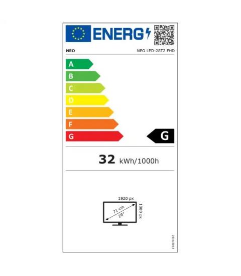 Televizor LED NEO 28T2,71 cm,FHD,Clasa G,Negru