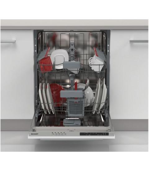 Masina de spalat vase incorporabila SHARP QW-NI14I47EX, 13 seturi, 5 programe, 60 cm, Clasa E